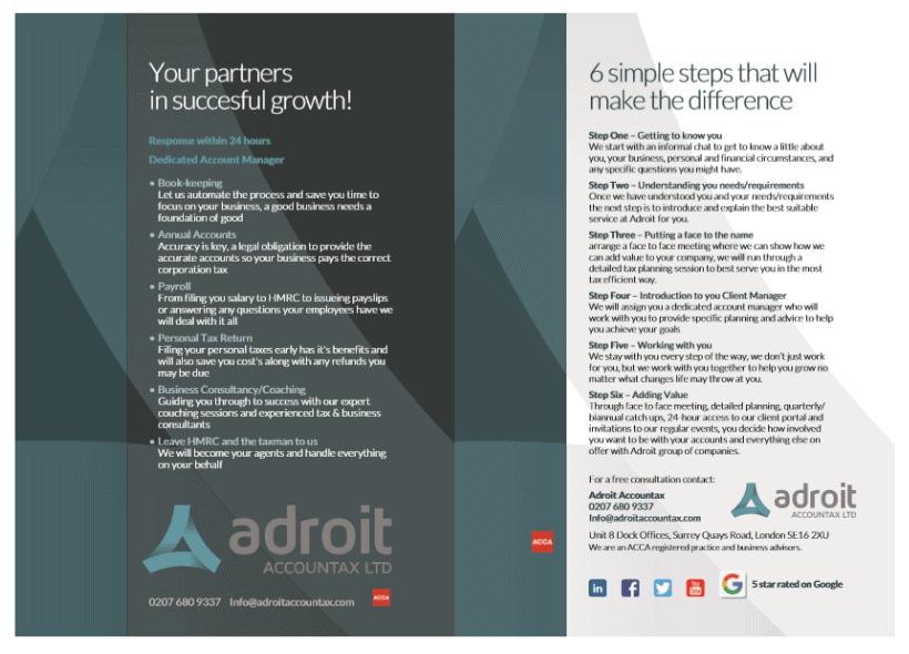 Brochure Design for Adroit Accountax