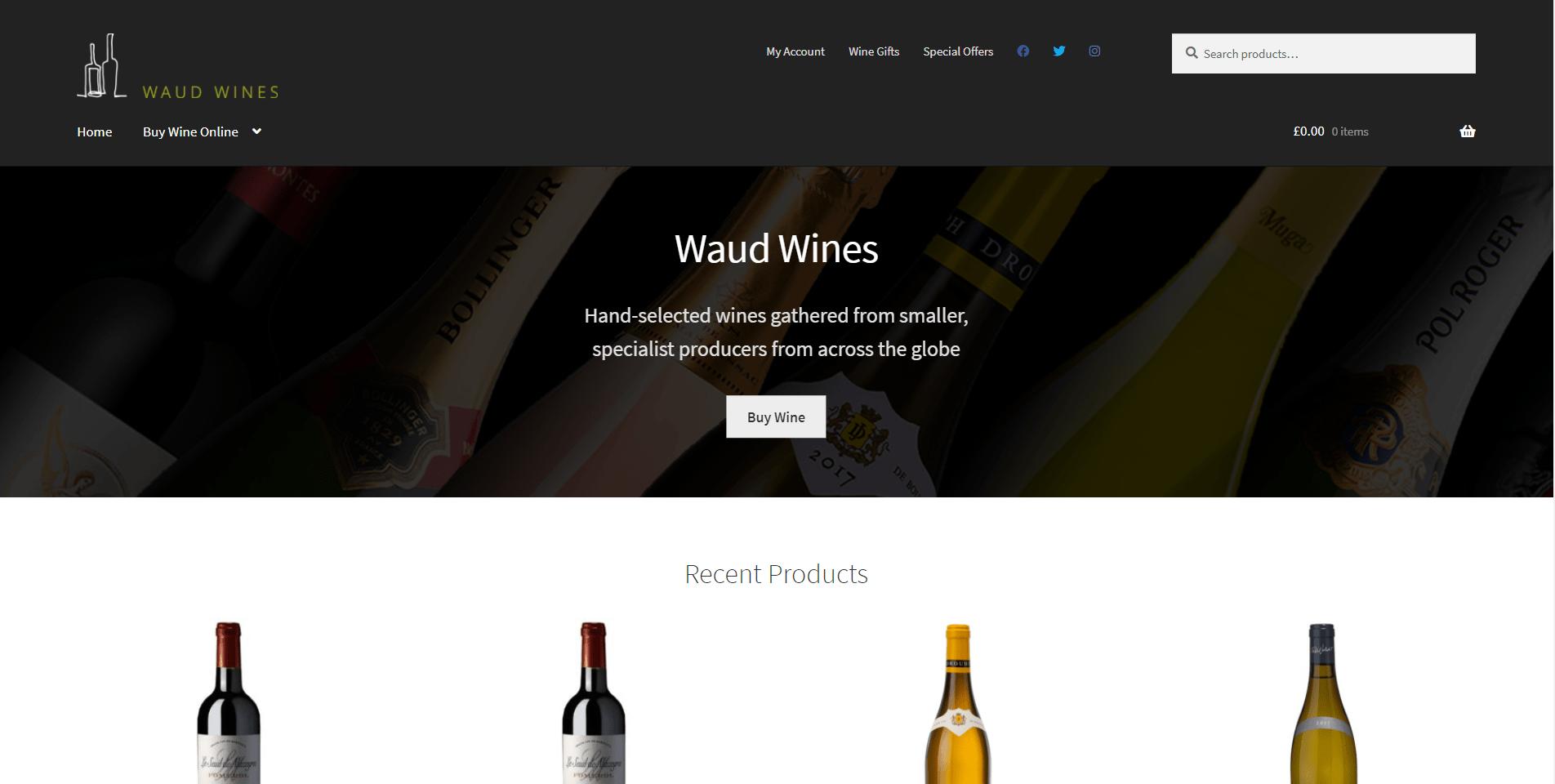 New Waud Wines website